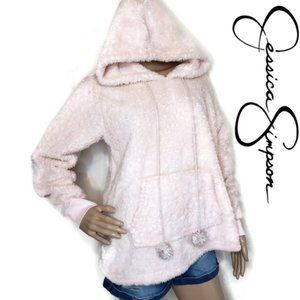 Jessica Simpson pink fuzzy nortic style hoodie SM